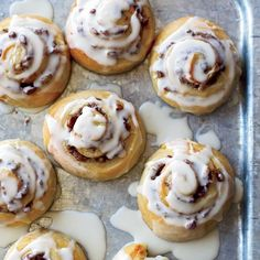 Glazed Cinnamon Rolls with Pecan Swirls | Baking these cinnamon rolls in big batches makes the effort worth it—they take time but are so satisfying.