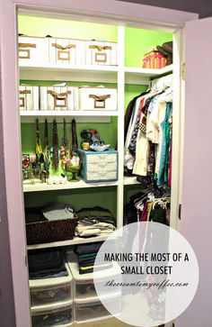 This is actually a small walk-in with another perpendicular rod to the left--but, same idea, hanging rod perpendicular, shallow shelving/storage across from door