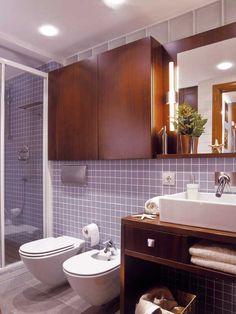 Especial baños pequeños - Banos - Decoracion interiores - Interiores, Ambientes, Baños, Cocinas, Dormitorios y habitaciones - CASADIEZ.ES Master Bath Tile, Bath Tiles, Home Decoracion, Bathroom Shelves, Bath Decor, Humble Abode, Toilet, Sweet Home, Ideas