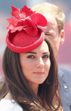 Maple leaf fascinator. Kate Middleton day 2 of the Canadian Tour.