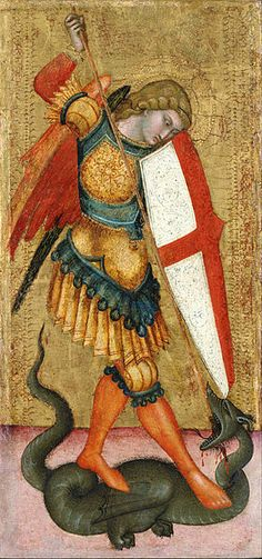 St. Michael and the Dragon by unknown artist of Sienese School of the 14th century (1301 - 1400)