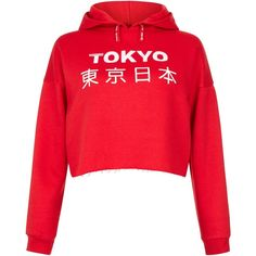 New Look Teens Red Tokyo Cropped Raw Hem Hoodie ($20) ❤ liked on Polyvore featuring tops, red, red crop top, cut-out crop tops, red top and crop top