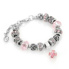 Antique Bracelet with Pink Crystal Beads