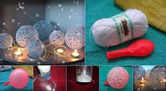Boules décoratives en fil 1 - Gonflez le ballonnet 2 - Faites 2 trous dans un gobelet en plastique et passez y la corde. 3 - Versez la colle blanche (colle utilisée par les écoliers) dans le gobelet. 4 - Enroulez la corde autour du ballon et laissez sécher. Explosez le ballon pour obtenir la forme finale.