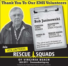Bob Jasinowski from Blackwater Volunteer Rescue Squad (Station 13)