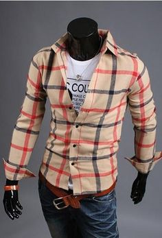 Willstyle Men's Casual Long Sleeve Beige/Red
