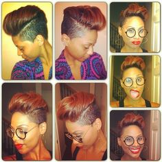 This is ca-yuute!✂ Auburn. Shaved sides. Short hair. Cut-in versatility and edge.