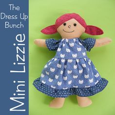 Mini Lizzie - a Half Size Dress Up Bunch Rag Doll Pattern - Digital PDF Pattern by ShinyHappyWorld on Etsy https://www.etsy.com/listing/265100823/mini-lizzie-a-half-size-dress-up-bunch