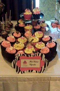 Paris theme red velvet cupcakes