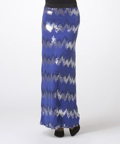Look at this Royal & Silver Zigzag Maxi Skirt on #zulily today!