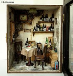 I love making dioramas.  Vintage Country small Wine Shop, Ooak Old bar handmade Dollhouse Miniatures