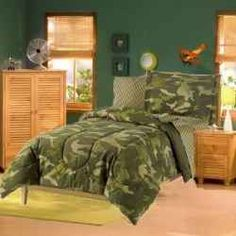 Army soldier style bedroom furniture camouflage army for Camo kids room