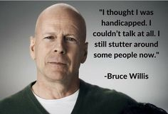 #BruceWillis #stuttering #stammering Speech Language Pathology, Speech And Language, Jokes Quotes, Me Quotes, Bruce Willis, Autism Spectrum Disorder, Speech Therapy, Self, Knowledge