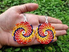 Brick Stitch Earrings, Seed Bead Earrings, Beaded Earrings Patterns, Jewelry Patterns, Beading Projects, Beading Tutorials, Bead Jewellery, Beaded Jewelry, Beadwork Designs