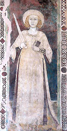 Trevi -Chiesa di S. Caterina sulla via dei Cappuccini - Santa Caterina (sec. Medieval Life, Medieval Fashion, Medieval Dress, Early Modern Period, Late Middle Ages, 14th Century, Roman Empire, Historical Clothing, Archaeology