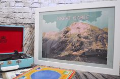 Great Gable - The Lake District National Park Original graphic poster art designed in The Northern Line studio in Ulverston, Cumbria. We ship worldwide.