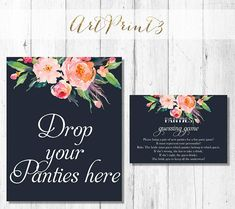 Panty Game Printable, Printable Rustic Shower Panty Game Cards and Sign, Lingerie Bridal Shower Game, Bachelorette Party Game