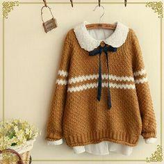 Estera would wear a tan sweater like this one. Kawaii Fashion, Lolita Fashion, Cute Fashion, Look Fashion, Fashion Outfits, Abaya Fashion, Muslim Fashion, Fashion Design, Japanese Fashion