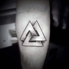Mens Forearms Valknut Symbol Tattoo