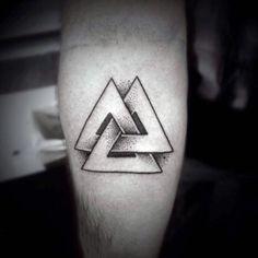 Mens Forearms Valknut Symbol Tattoo