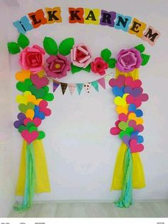 Welcome design board decoration, class decoration, school decorations, birt Board Decoration, Class Decoration, School Decorations, Birthday Decorations, Spring Decorations, Preschool Crafts, Diy And Crafts, Crafts For Kids, Arts And Crafts