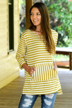 Back in Town Mustard Yellow Stripe Top Shop Simply Me Boutique – Simply Me…
