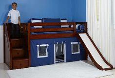 Maxtrix Low Loft Bed W Staircase On End Amp Slide Diy Kids