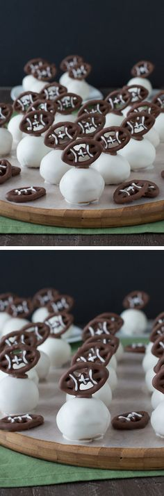 Football Oreo Balls - golden oreo balls dipped in white chocolate and topped with football pretzels! Make these for game day!: