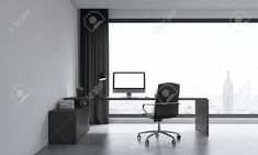 Office room with large window. Computer on table. Concept of work. 3D render. Mock up. Foto de archivo - 59748402