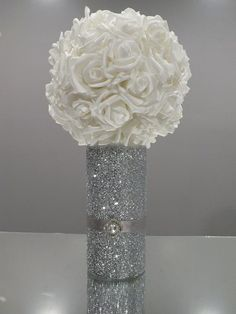 Wedding Centerpieces, Flower Ball, Kissing Ball, Glitter Vase, Glitter Centerpiece in 2019 Glitter Centerpieces, Glitter Candles, Wedding Table Centerpieces, Wedding Flower Arrangements, Flower Centerpieces, Wedding Decorations, Bling Centerpiece, Centerpiece Ideas, Sweet 16 Centerpieces