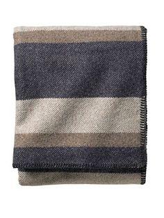 Pendleton Eco-wise Wool Plaid/stripe Blanket in queen Midnight Navy Stripe $189