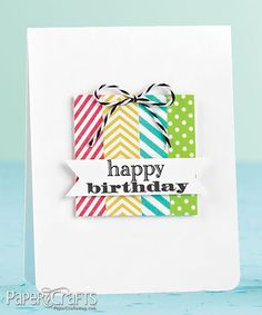 handmade birthday card ... clean and simple ... washi tape strips make a colorful package ...