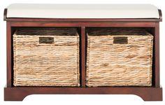 Alonza Pine Wood Storage Bench