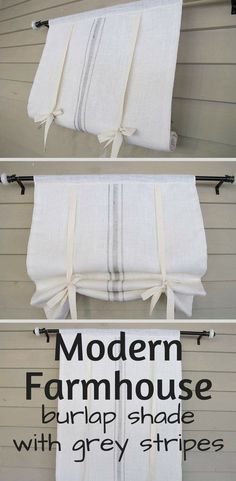 White burlap shade with grain sack grey stripes for a modern farmhouse shade. Comes with tie backs included. Love this look for the kitchen windows or living room. Even would look great in the bathroom for that smaller window. Farmhouse Kitchen Curtains, Farmhouse Windows, Country Farmhouse Decor, Modern Farmhouse Kitchens, Farmhouse Design, Home Decor Kitchen, Country Kitchen, Farmhouse Valances, Farmhouse Fabric