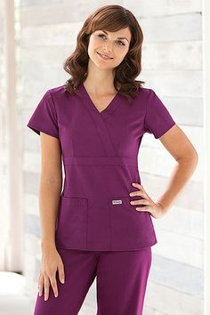 Grey's Anatomy™ Junior Fit 3 Pocket Mock Wrap Top by Barco Uniforms