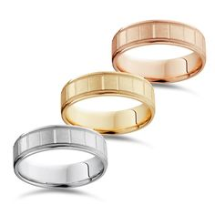 Bliss 14k Yellow And Rose Gold Men's 6mm Brushed comfort Fit Wedding Band