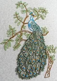 Peacock Embroidery by girlwhoknits, via Flickr