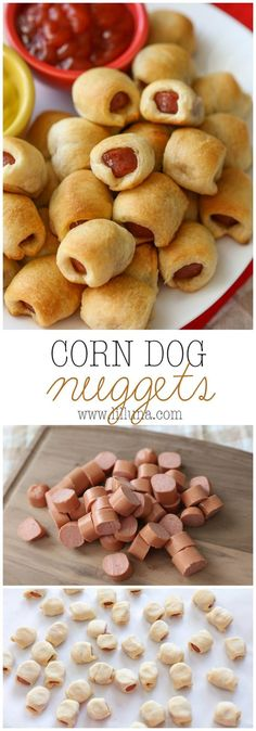 Dog Nuggets - it's the family's new favorite recipe! It's simple, delicious and is perfect for lunch, dinner or even a party!Corn Dog Nuggets - it's the family's new favorite recipe! It's simple, delicious and is perfect for lunch, dinner or even a party! Snacks Für Party, Lunch Snacks, Food For Lunch, Party Desserts, Party Drinks, Dinner Healthy, Vegan Snacks, Healthy Kid Lunches, Hot Snacks