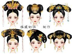 中国风-古代发型 Chinese Style, Chinese Art, Asian Hair Pin, Asian Hair Ornaments, Historical Hairstyles, Chinese Dolls, Chinese Drawings, Hanfu, Cheongsam