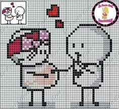 Pareja Cross Stitch Designs, Cross Stitch Patterns, Cross Stitch Music, Graph Crochet, Cross Love, Graph Paper Art, Alpha Patterns, Friendship Bracelet Patterns, Hama Beads