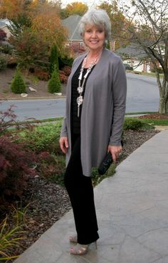 Top and pants in the same color and a topper in another color to look taller. A topper can be a sweater, a jacket, vest or a blouse left mostly open. Fifty, not Frumpy: Column Dressing