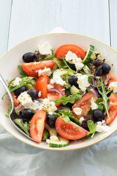 Real Food Recipes, Vegetarian Recipes, Healthy Recipes, Healthy Salads, Healthy Eating, Grilled Asparagus Recipes, Beef Stroganoff, Greek Salad, Side Salad