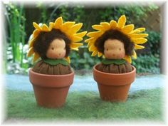 sonnenblumenbabs.jpg (400×300) sunflower felt doll nature table Summer seizoenstafel zomer zonnebloem in potje