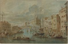 Attributed to Francesco Guardi. View of the Rialto Bridge, Venice.