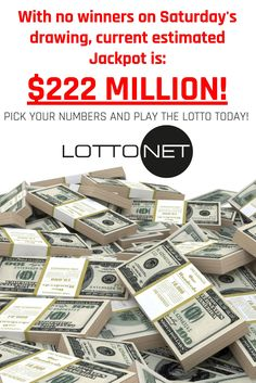 With no winners on Saturday's Powerball drawing, current estimated #Jackpot is $222 MILLION! Pick your numbers and play the #LOTTO with LottoNet, while avoiding the line! www.getlottonet.com
