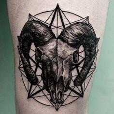 Ink by @iljahummel #inked #inkedmag #ram #skull #freshlyinked