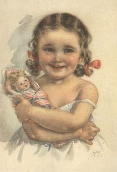 with a doll Illustrations, Illustration Art, Beautiful Children, Art Pictures, Photos, Vintage Children, Vintage Postcards, Girl Dolls, Cute Kids