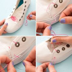 the Hoop! Embroider White Canvas Sneakers for Spring Forget the Hoop! Embroider White Canvas Sneakers for Spring via Brit + CoForget the Hoop! Embroider White Canvas Sneakers for Spring via Brit + Co Diy Embroidered Sneakers, Embroidery Sneakers, Diy Accessoires, Painted Shoes, Canvas Sneakers, Dream Shoes, Custom Shoes, White Sneakers, Sewing Patterns