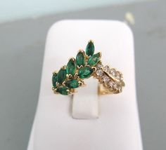 Emerald Engagement Ring Vintage Cluster by Ferguson Fine Jewelry Gemstone Engagement Rings, Vintage Engagement Rings, Vintage Rings, Vintage Jewelry, Engagement Sets, Vintage Style, Leaf Engagement Ring, Vintage Ideas, Unique Vintage