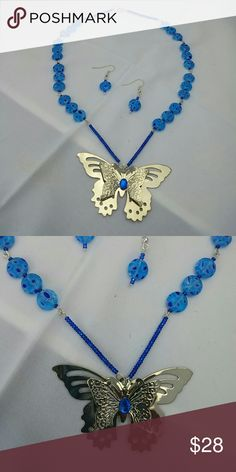 SALE TODAY ONLY! Necklace and earring set Beautiful millefiori beads in shades of blue with butterfly focal. Handmade Jewelry Necklaces